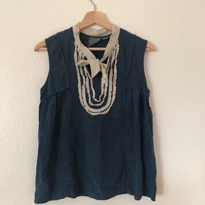 Girls From Savoy Bib Tie Front Silk Tank Blouse